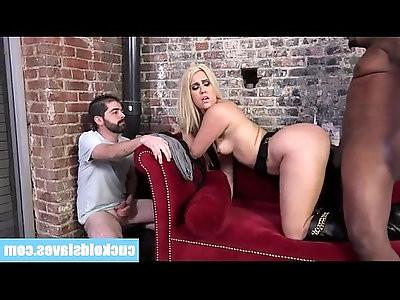 Cuckold licks cum off his wife hot white ass