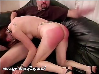 Red spanked ass blowing