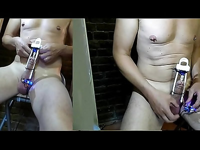 OMG fucking drill cock with big notched rod turn inside DIY