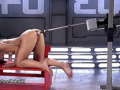 Wet cunt Brazilian teen bangs machine