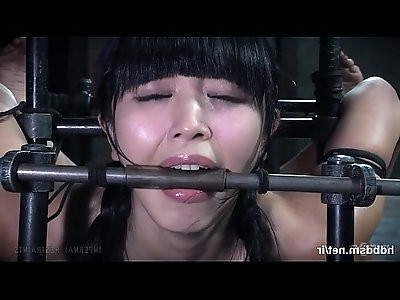 Masters vigorous punishment left cute Asian slaves pussy with nectar