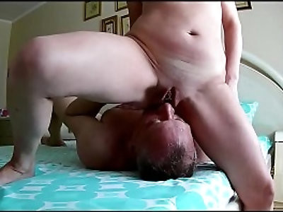 Facesitting wife Husband in chastity