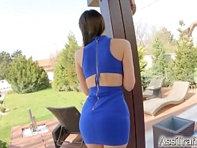Asstraffic brunette bends over and gets fucked in the ass
