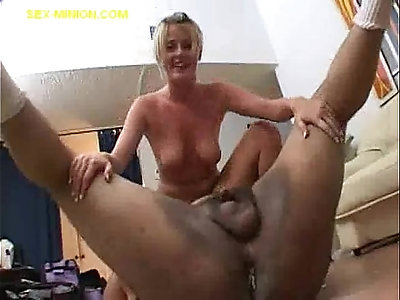 Fat guys load for blonde