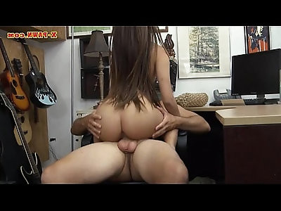 Perky tits brunette babe drilled at the pawnshop