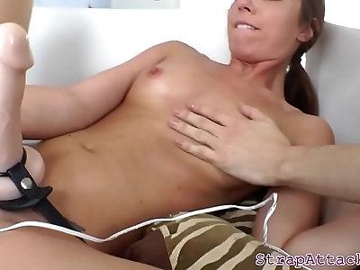 Flexible dominatrix loves pegging her sub bf