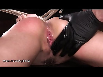 Hogtied slave fingered squirting