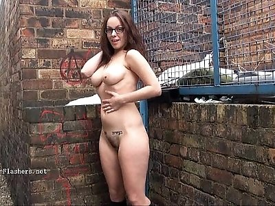 Geeky outdoor public nudity of sexy skinny babe flashing boobs and showing