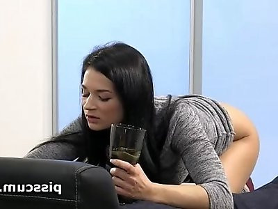 Adele drinking her own piss and teasing cock