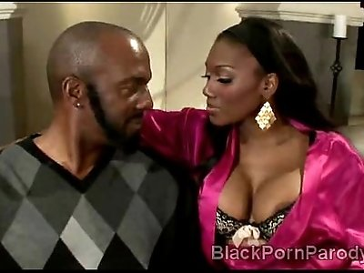 Big stacked ebony sucks huge ass black dong in this parody
