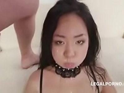 Asian Jureka Del Mar gets hardcore Dp and swallows piss
