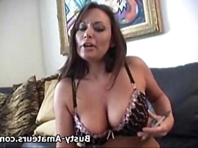 Busty Leslie playing her pussy after interview