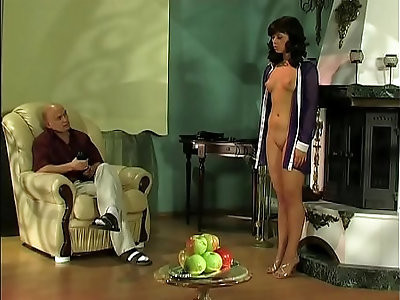Cruel master plays with his submissive girl.