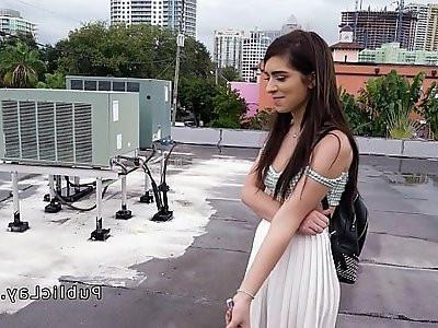American student sucks on the roof top pov