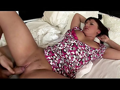 Young brunette stepsister getting tiny cooch ripped wide open by huge meaty cock