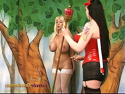 Ravishing blonde with massive tatas gets spanked by her mistress