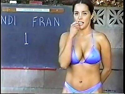 Cal Supreme Candi vs Francesca outdoor topless boxing