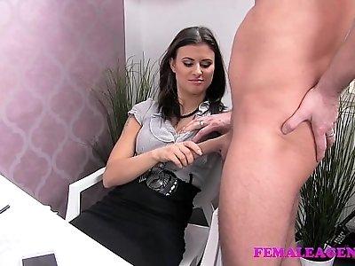 FemaleAgent Horny stud wants to finish on sexy agents amazing tits
