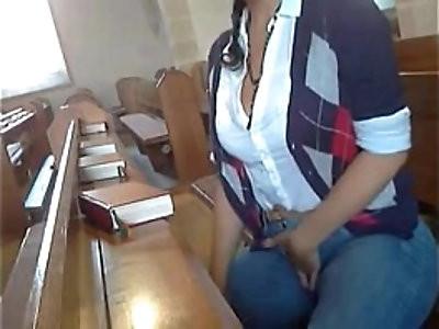 Analbabsi Babsi masturbates inside the Church